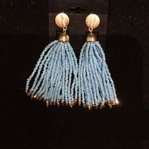 New blue beaded tassel earrings. Gold tipped.
